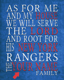 "New York Rangers hockey inspired Personalized Customized Art Print- ""As for Me"" Parody- Unframed Print"