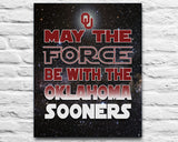 "Oklahoma Sooners inspired football ""May the Force Be With You"" ART PRINT, Sports Wall Decor, man cave gift for him, Unframed"