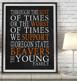 "Oregon State Beavers Personalized ""Best of Times"" Art Print Poster Gift"