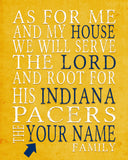 "Indiana Pacers basketball inspired Personalized Art Print- ""As for Me""- Unframed"