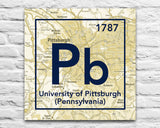 Pittsburgh Panthers- Periodic Map art print on Wooden Block