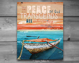 Peace the Passes all Understanding- Danny Phillips Fine Art Print, rowboat on lake ocean, UNFRAMED, All Sizes
