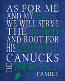 "Vancouver Canucks Personalized ""As for Me"" Art Print"