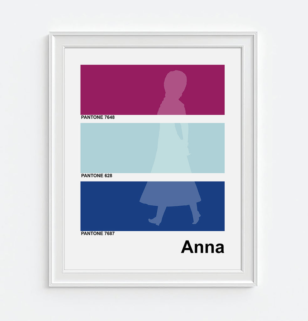 Disney Inspired Anna from Frozen Minimal Pantone Art Print
