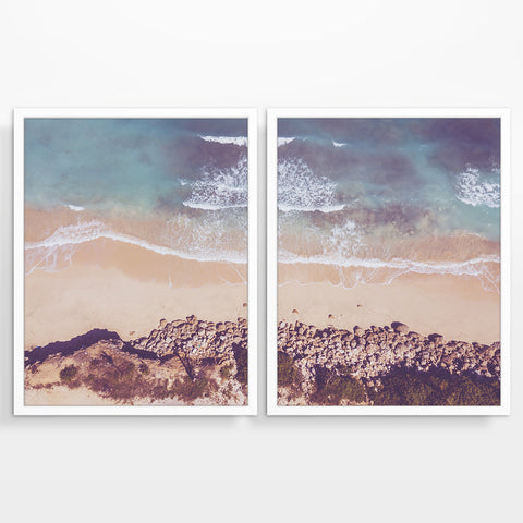 Aerial Beach Waves Photography Prints, Set of 2, Coastal Wall Decor