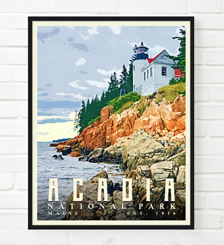 Acadia National Park Maine Art Print, Adventure Wall Art Decor Poster