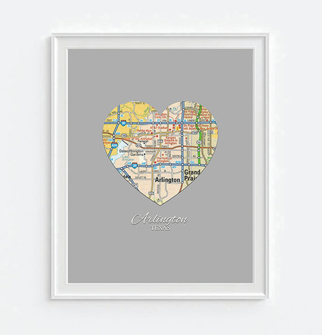 Arlington Texas Vintage Heart Map - Custom Colors - Couples- Engagement -Anniversary -Christmas- Family gift UNFRAMED ART PRINT