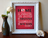"Arizona Cardinals Inspired Personalized & Customized ART PRINT- ""Home Is"" Parody Retro Unframed Print"