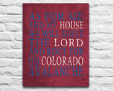"Colorado Avalanche hockey inspired Personalized Customized Art Print- ""As for Me"" Parody- Unframed Print"