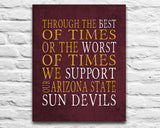 "Arizona State Sun Devils Personalized ""Best of Times"" Art Print Poster Gift"