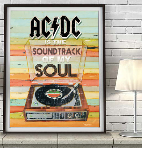 ACDC is the Soundtrack of My Soul - Mixed Media Collage -Danny Phillips Fine Art Print