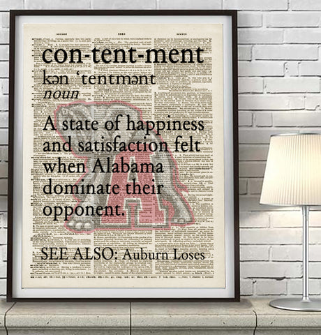 "Alabama Crimson Tide inspired ""Contentment"" Art Print - Christmas poster gift"