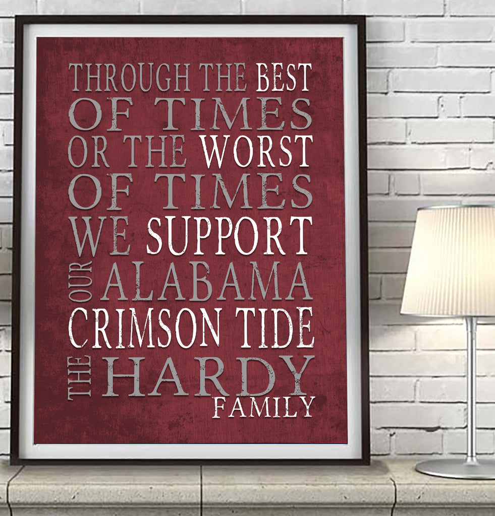 "Alabama Crimson Tide Personalized ""Best of Times"" Dickens Parody Art Print Poster Gift"