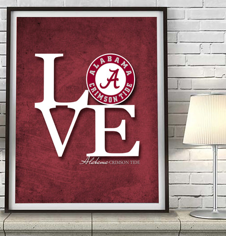 "Alabama Crimson  inspired ""Love"" ART PRINT"