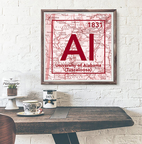 Alabama Crimson Tide- University of Alabama Tuscaloosa - Vintage Periodic Map ART PRINT