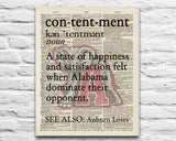 "Alabama Crimson Tide inspired ""Contentment"" ART PRINT Using Old Dictionary Pages, Unframed"