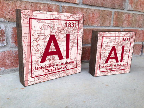 Alabama Crimson Tide - Periodic Map art print on Wooden Block