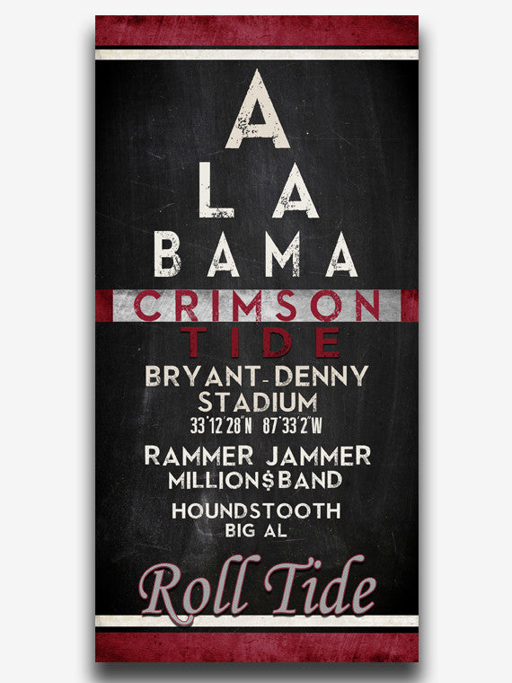 "Alabama Crimson Tide ""Eye Chart"" ART PRINT"