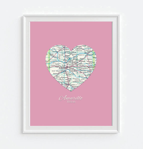 Amarillo Texas Vintage Heart Map - Custom Colors - Couples- Engagement -Anniversary -Christmas- Family gift UNFRAMED ART PRINT