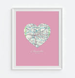 Amarillo Texas Vintage Heart Map Art Print