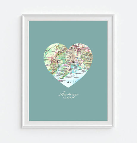 Anchorage Alaska Vintage Heart Map - Custom Colors - Couples- Engagement -Anniversary -Christmas- Family gift UNFRAMED ART PRINT