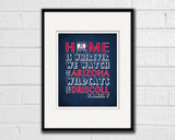 "Arizona Wildcats inspired Personalized Customized Art Print- ""Home Is"" Parody- Unframed Print"