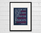 "Arizona Wildcats Customized Art Print- ""As for Me"" Parody- Unframed"
