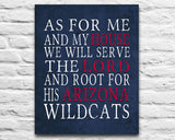 "Arizona Wildcats Personalized ""As for Me"" Art Print"