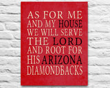 "Arizona Diamondbacks baseball Personalized ""As for Me"" Art Print"