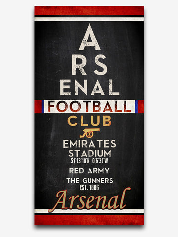 "Arsenal FC Football Club ""Eye Chart"" ART PRINT, Sports Wall Decor, man cave gift for him, Unframed"