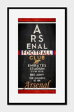 "Arsenal FC Football Club ""Eye Chart"" ART PRINT"