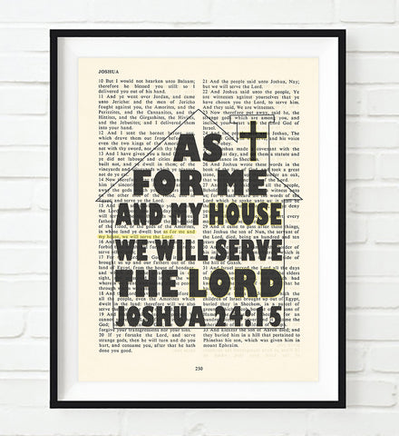 As for me and my house- Joshua 24:15 -Vintage Bible Page Art Print