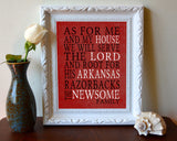 "Arkansas Razorbacks Customized Art Print- ""As for Me"" Parody- Unframed"