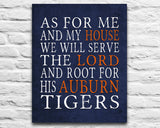 "Auburn University Tigers Customized Art Print- ""As for Me"" Parody- Unframed Print"