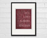 "Alabama Crimson Tide Customized Art Print- ""As for Me"" Parody- Unframed"