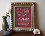 "Alabama Crimson Tide Personalized ""As for Me"" Art Print"