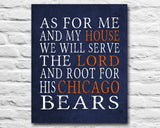 "Chicago Bears football inspired Personalized Customized Art Print- ""As for Me"" Parody- Unframed Print"