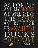 "Anaheim Ducks hockey Personalized ""As for Me"" Art Print"