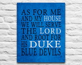 "Duke Blue Devils inspired personalized ""As for Me"" Art Print"