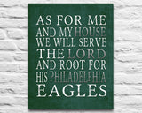"Philadelphia Eagles football inspired Personalized Customized Art Print- ""As for Me"" Parody- Unframed Print"
