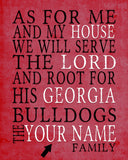 "Georgia Bulldogs UGA personalized ""As for Me"" Art Print"