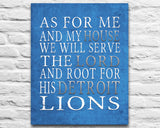"Detroit Lions football Personalized ""As for Me"" Art Print"