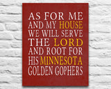 "Minnesota Golden Gophers Personalized ""As for Me"" Art Print"