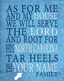 "North Carolina Tar Heels personalized ""As for Me"" Art Print"