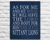 "Penn State Nittany Lions Customized Art Print- ""As for Me"" Parody- Unframed Print"