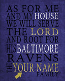 "Baltimore Ravens football inspired Personalized Customized Art Print- ""As for Me"" Parody- Unframed Print"