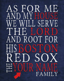 "Boston Red Sox baseball Personalized Art Print- ""As for Me"" Parody-Unframed Print"