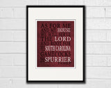 "South Carolina Gamecocks Personalized ""As for Me"" Art Print"