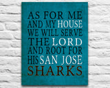 "San Jose Sharks hockey inspired Personalized Customized Art Print- ""As for Me"" Parody- Unframed Print"