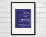 "TCU Horned Frogs Texas inspired Personalized Customized Art Print- ""As for Me"" Parody- Unframed Print"